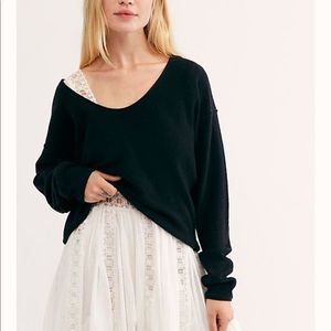 Free People 100% Cashmere Cropped Knit Sweater